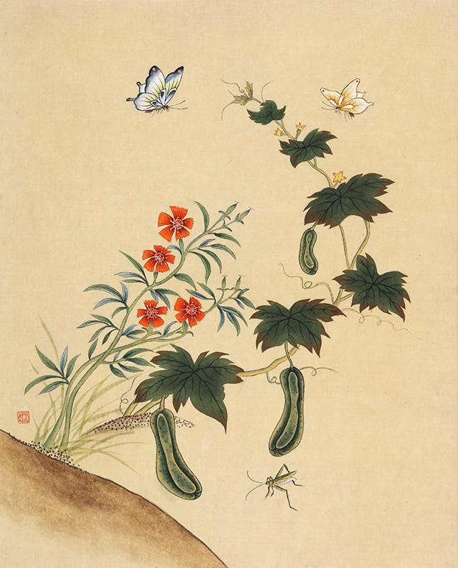 신사임당 (초충도_ 오이와 메뚜기)