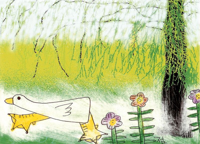버드나무 꽃과 오리