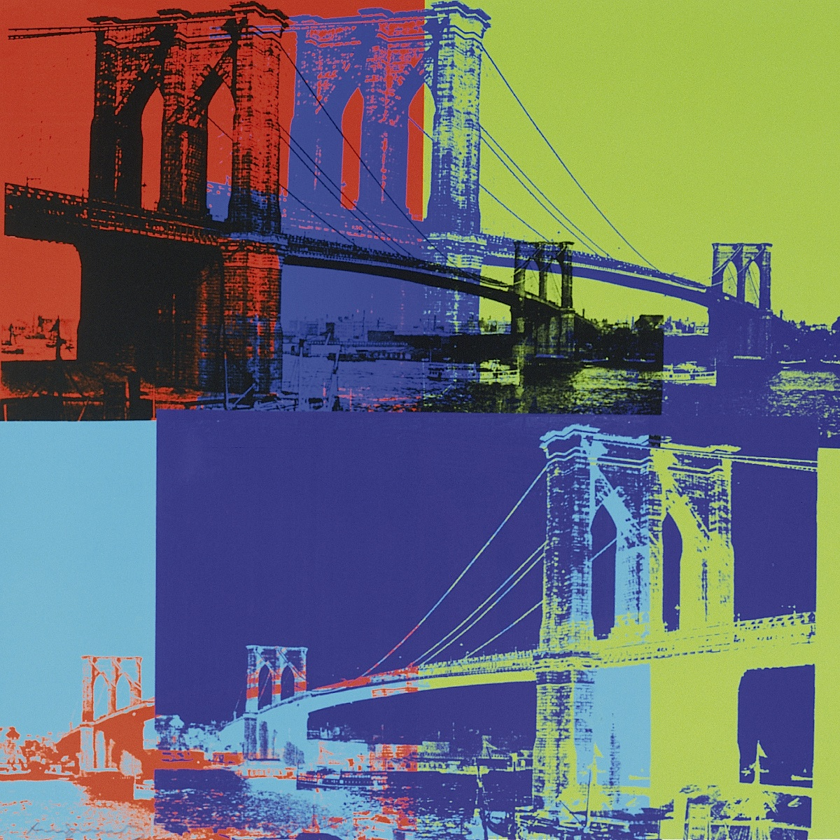Brooklyn Bridge, 1983 (orange, blue, lime)
