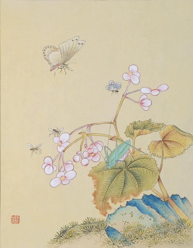 신사임당 (화조도 12폭 큰나비와 메뚜기)