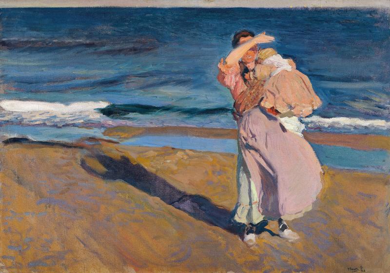 Fisherwomen with her son