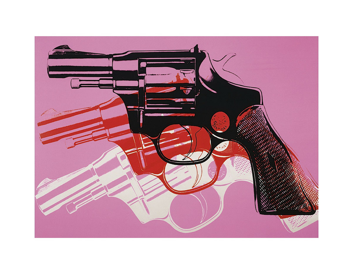 Gun, c. 1981-82 (black, white, red on pink)
