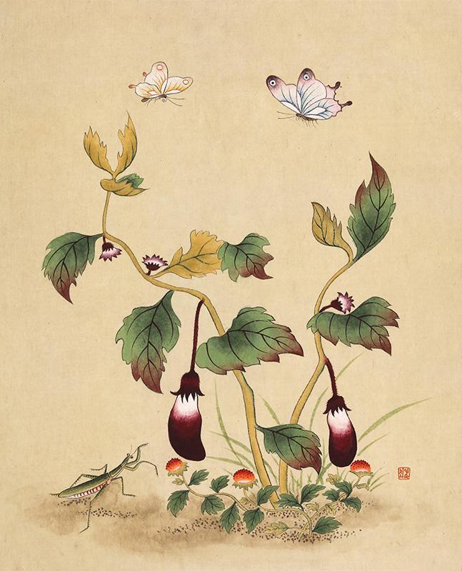 신사임당 (초충도_가지와 범땅개)