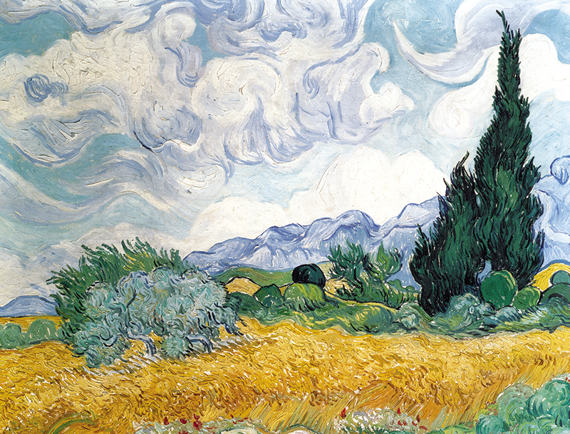 A Wheatfield with Cypresses