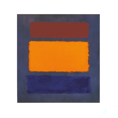 Untitled (Brown, Orange, Blue on Maroon)