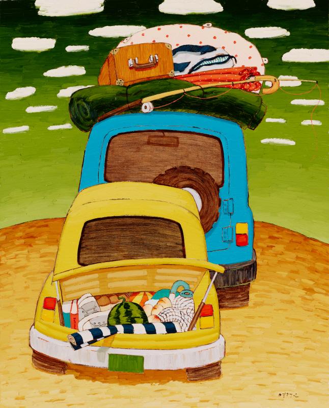 유화이면서 강한 붓터치에 늘 등장하는 자동차가 매력적인 그림