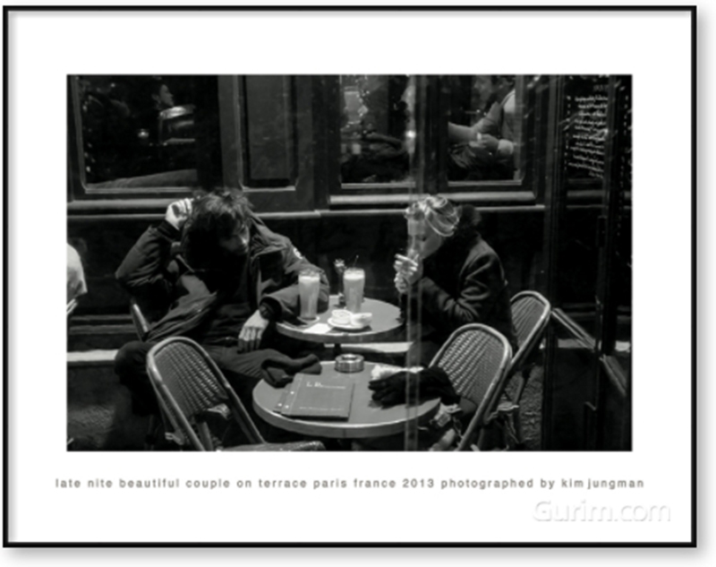 late nite beautiful couple on terrace (paris france 2013)