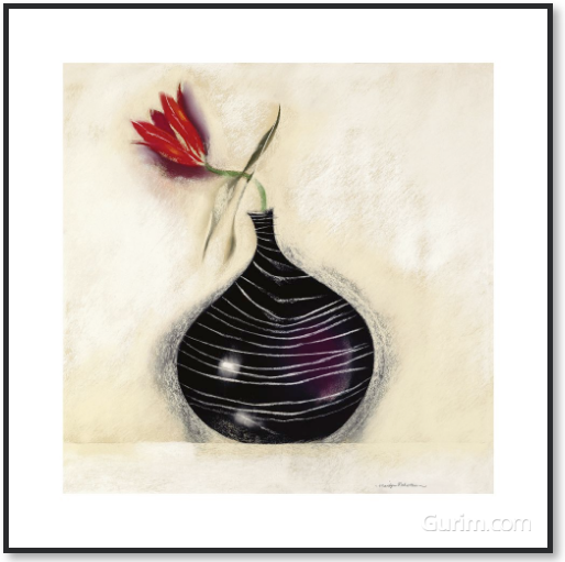 Tulip In Black Vase II