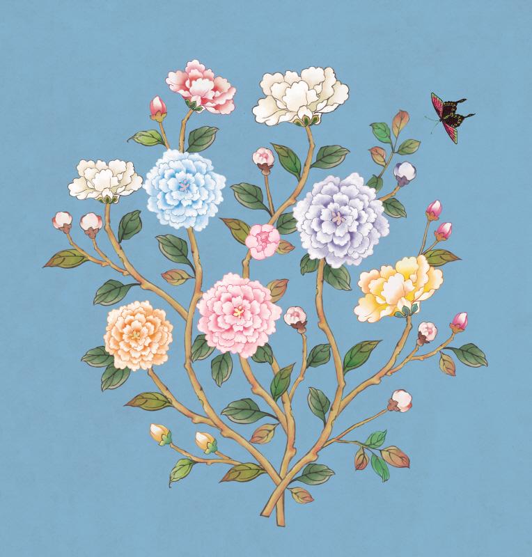 꽃가지 겨울 파랑