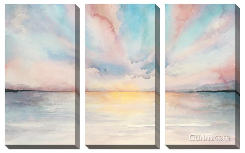 Sea Sunset Triptych 풍경화 세트