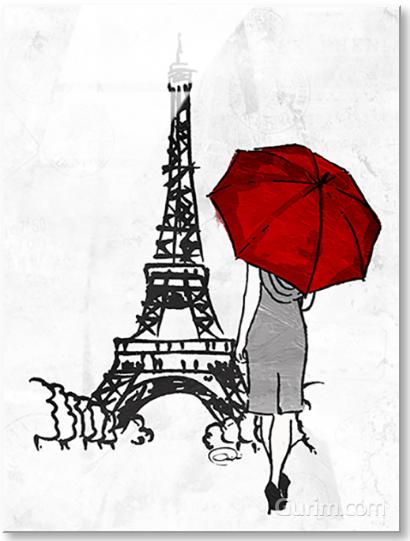 Inked Walk Away Mate Red Umbrella