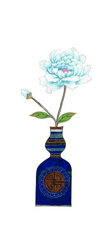 WHHACHHO 꽃병 파랑