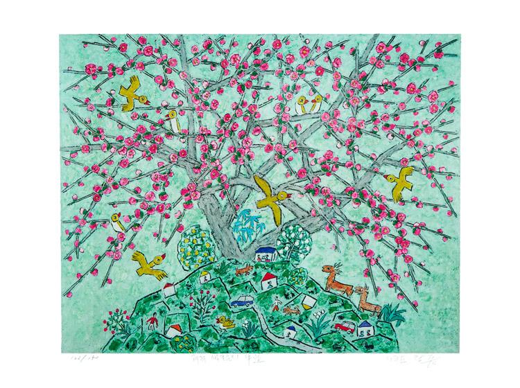 제주생활의 중도 (150 Editions) Pink flower bird