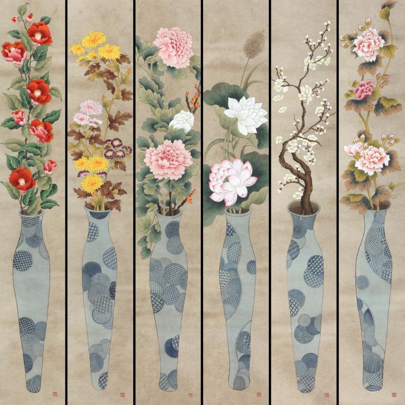 바램 6폭 (vase of happiness)