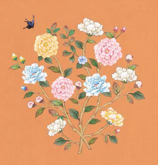 꽃가지 가을_주황