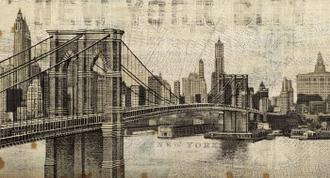 Vintage NY Brooklyn Bridge Skyline
