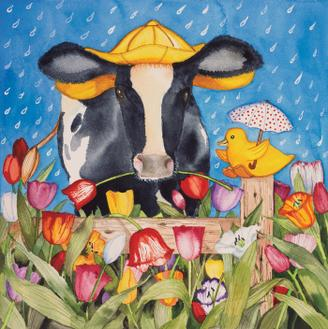 Spring Cow Square
