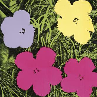 Flowers, 1970 (1 purple, 1 yellow, 2 pink)