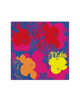 Flowers, 1970 (red, yellow, orange on blue)
