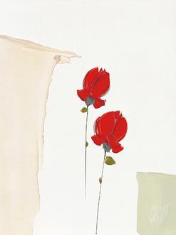 Deux petites roses rouges