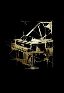 Gold Foil Piano on Black