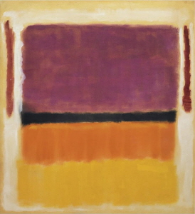Untitled (Violet, Black, Orange, Yellow on White and Red), 1949