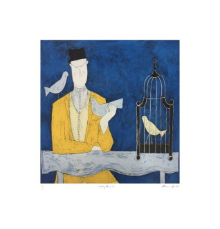 man and birdcage (150 Editions)