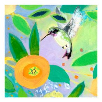Hummingbird And Dahlia